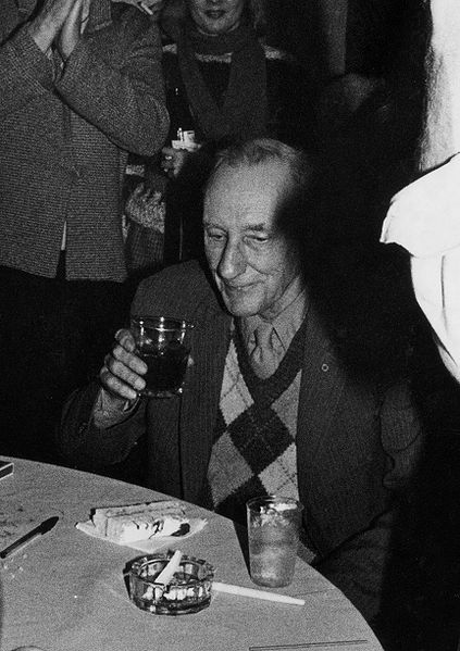 Picture of William S. Burroughs. William Burroughs enjoying his 70th birthday. Photo by Chuck Patch.