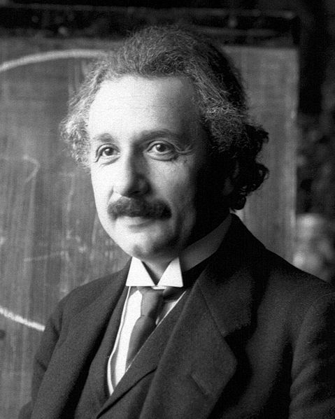 Picture of Albert Einstein. Albert Einstein during a lecture in Vienna in 1921 (age 42).