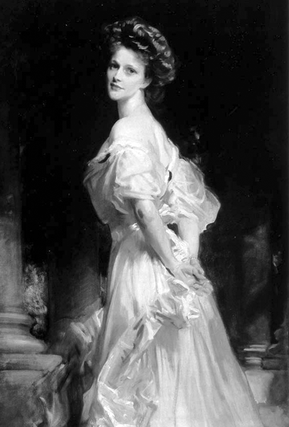 Picture of Nancy Astor. Portrait of Mrs. Waldorf Astor (nee Nancy Langhorne), Viscountess Astor. Oil on canvas by the American artist John Singer Sargent. 149.9 cm x 99 cm (59.02 in. x 38.98 in. ) 1908-1909.