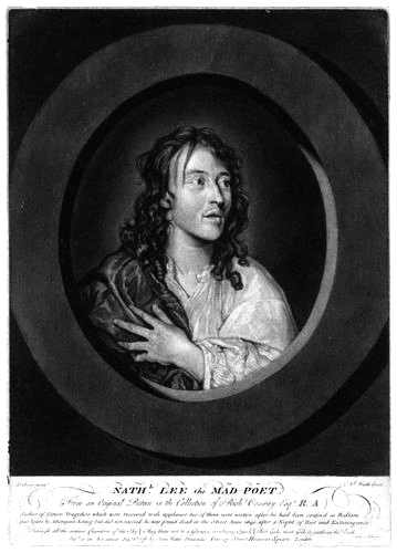 Picture of Nathaniel Lee. Portrait of Nathaniel Lee (1653-1692), mezzotint, published 1778, by John Watts (fl. 1766-1786), after William Dobson (1611?1646)