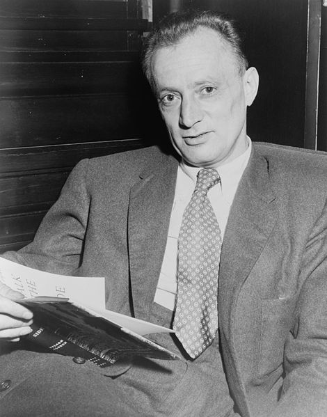Picture of Nelson Algren. This photograph is a work for hire created prior to 1968 by a staff photographer at New York World-Telegram & Sun. It is part of a collection donated to the Library of Congress. Per the deed of gift, New York World-Telegram & Sun dedicated to the public all rights it held for the photographs in this collection upon its donation to the Library.
