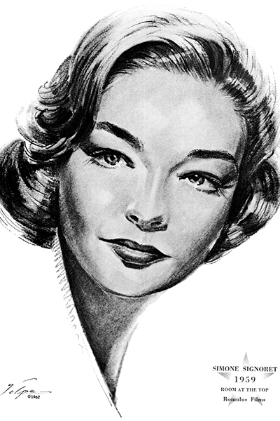 Picture of Simone Signoret. This work is in the public domain because it was published in the United States between 1924 and 1963 and although there may or may not have been a copyright notice, the copyright was not renewed.
