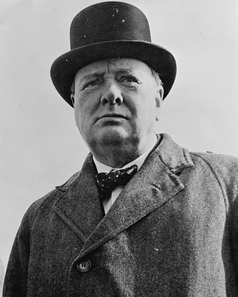 Picture of Winston Churchill. This image is a work of an employee of the United States Farm Security Administration or Office of War Information domestic photographic units, created during the course of the person's official duties. As a work of the U.S. federal government, the image is in the public domain. Library of Congress, Reproduction number LC-USW33-019093-C