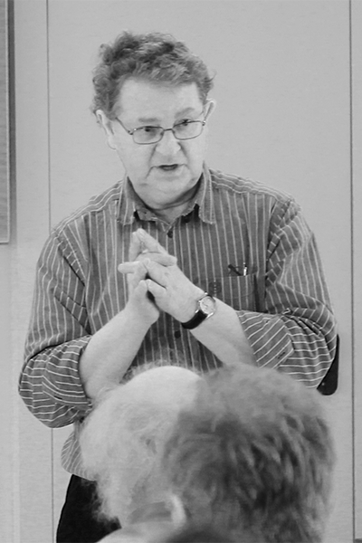 Picture of Steve Roud. Steve Roud, the English folklorist and creator of the Roud Folksong Index, speaking at an event for the launch of the Full English website at Clare College Cambridge in March 2014.