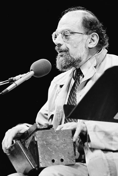 Picture of Allen Ginsberg. Allen Ginsberg at the Miami Bookfair International, 7th November 1985, photo by Miami Dade Campus Archives