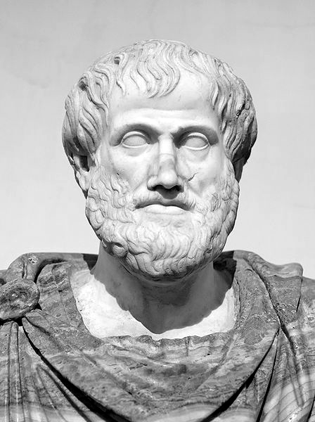 Picture of Aristotle. Bust of Aristotle. Marble, Roman copy after a Greek bronze original by Lysippos from 330 BC; the alabaster mantle is a modern addition.
