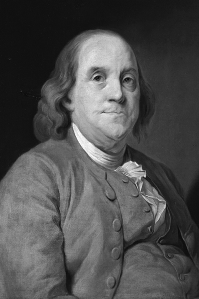 Picture of Benjamin Franklin. Benjamin Franklin, 1778, portrait by Joseph-Siffred Duplessis (1725?1802), National Portrait Gallery, London.