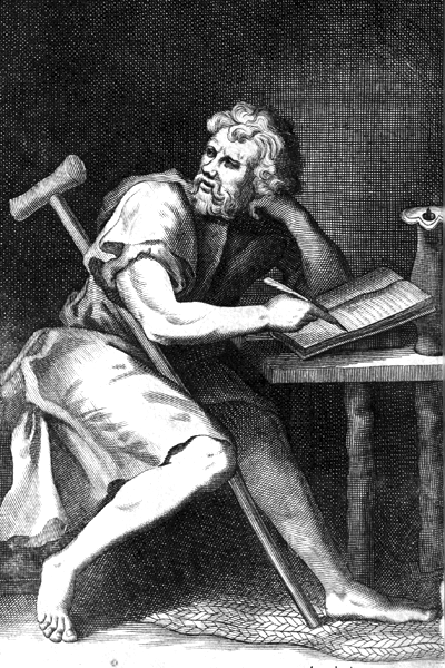 Picture of Epictetus. Imaginary portrait of Epictetus. Engraved frontispiece of Edward Ivie's Latin translation (or versification) of Epictetus' Enchiridon, printed in Oxford in 1751.