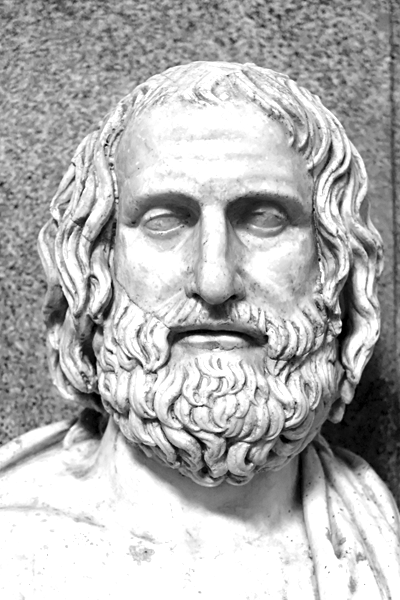 Picture of Euripides. Roman marble copy of a 4th-century Greek original (Museo Pio-Clementino, Rome)