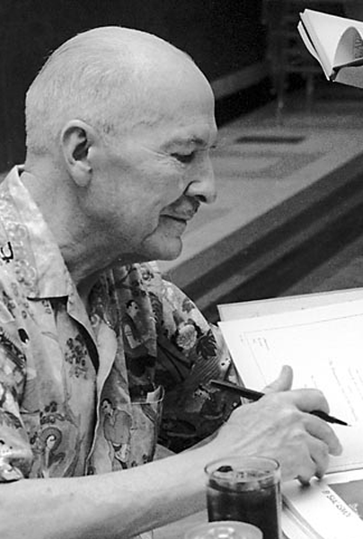 Picture of Robert A. Heinlein. Photo by Dd-b, taken at the 1976 World Science Fiction Convention in Kansas City, Missouri, USA, at which he was the guest of honour.