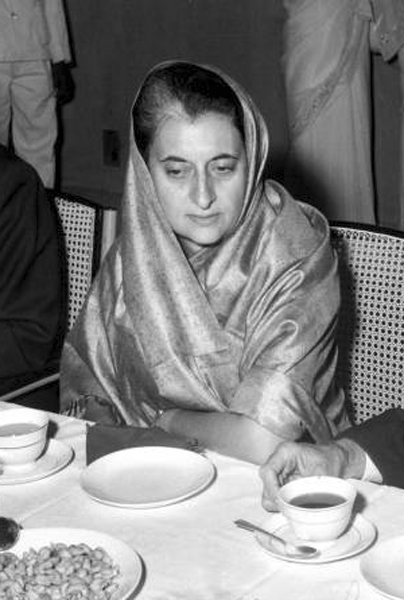 Picture of Indira Gandhi. Indira Gandhi at the dedication of Bhabha Atomic Research Center in Trombay, India, in 1967. Courtesy of the United States Information Service, Bombay, India.