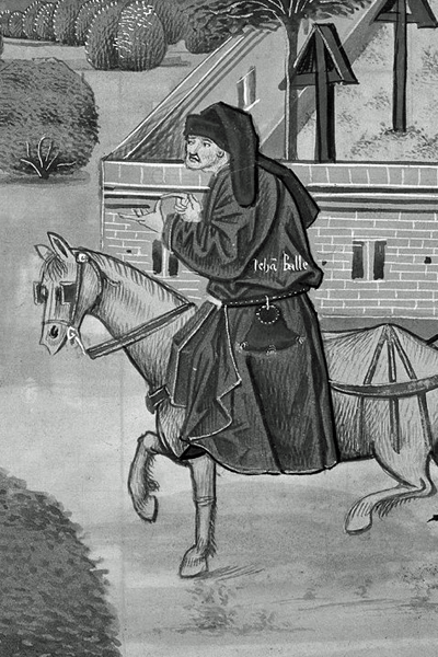 Picture of John Ball. An illustration of the priest John Ball ('Jehã Balle') on a horse encouraging Wat Tyler's rebels ('Waultre le tieulier') of 1381, from a ca. 1470 manuscript of Jean Froissart's Chronicles in the British Library.