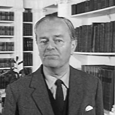 Picture of Kenneth Clark. Lord Clark in the library at Osterley Park, presenting the BBC TV series Civilisation.