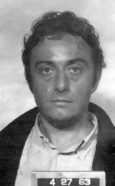 Picture of Lenny Bruce. Mugshot taken of Lenny Bruce, taken following his arrest. San Francisco Police Department photographic records.