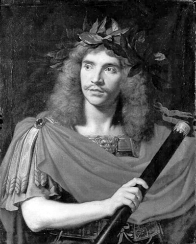 Picture of Molière. Portrait of Molière as Julius Cesar by Nicolas Mignard in 1658